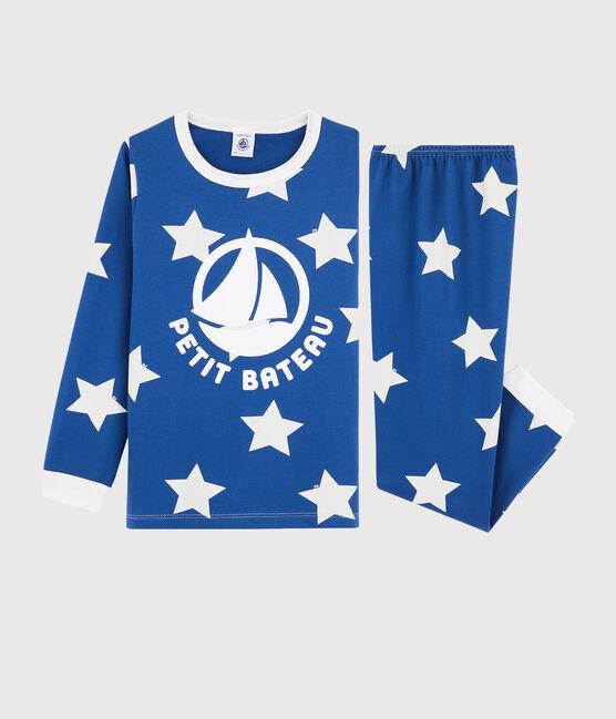 Pyjama à étoiles mixte en molleton bleu Major / blanc Ecume