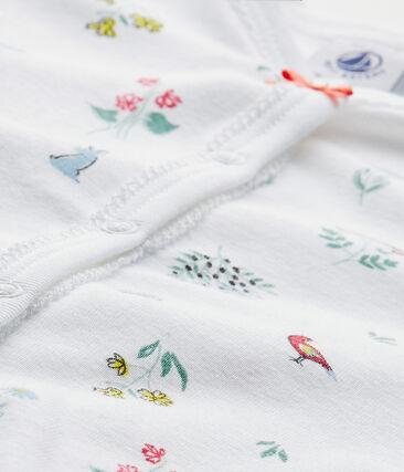 Dors bien sans pieds bébé fille imprimé blanc Ecume / blanc Multico