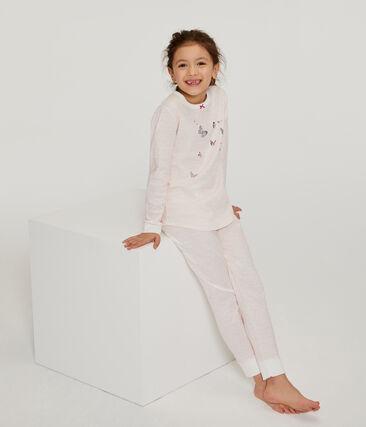 Pyjama petite fille en côte blanc Marshmallow / rose Rosako