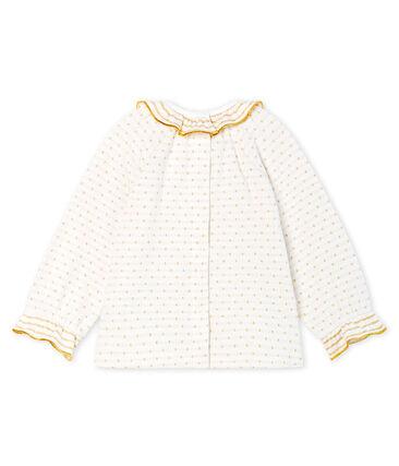 Blouse manches longues bébé fille en tubique jacquard blanc Marshmallow / jaune Or