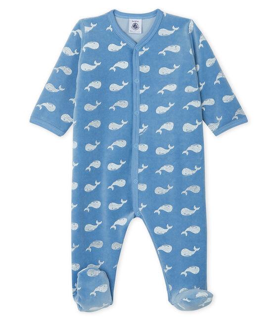 Dors-bien bébé garçon en velours bleu Alaska / blanc Marshmallow