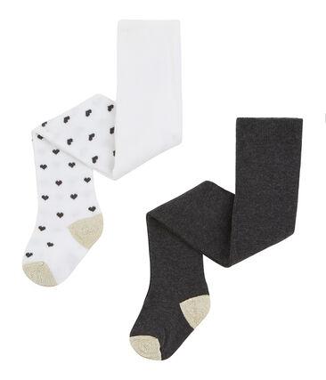 Lot de 2 paires de collants bébé fille blanc Marshmallow / blanc Multico