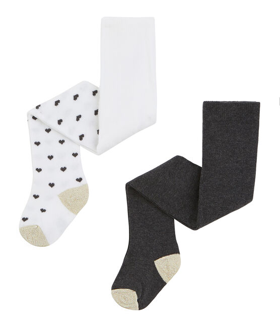 Lot de 2 paires de collants bébé fille blanc Marshmallow / blanc Multico
