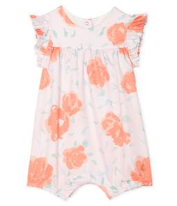 Combicourt bébé fille en satin imprimé rose Vienne / blanc Multico