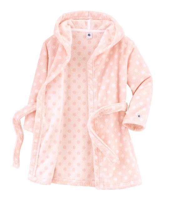 Peignoir petite fille en éponge rose Minois / blanc Lait