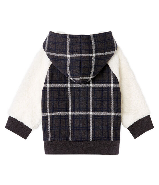 Sweatshirt à capuche bébé garçon en maille à carreaux et sherpa moutonnée noir City / blanc Multico