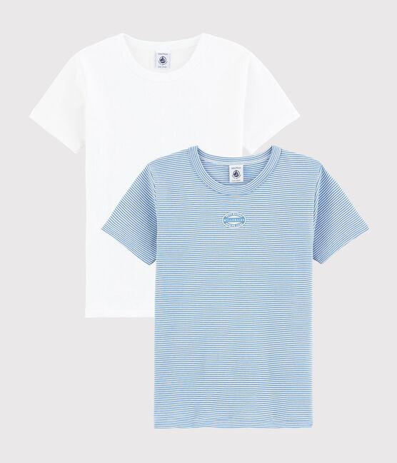 Lot de 2 tee-shirts manches courtes milleraies bleues petit garçon en coton biologique lot .