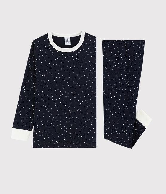 Pyjama à étoiles blanches enfant mixte en côte bleu Smoking / blanc Marshmallow