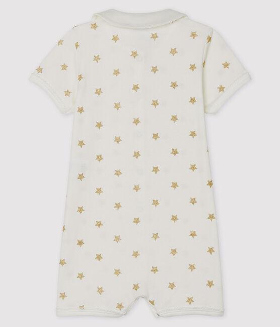 Combicourt bébé en côte blanc Marshmallow / jaune Or