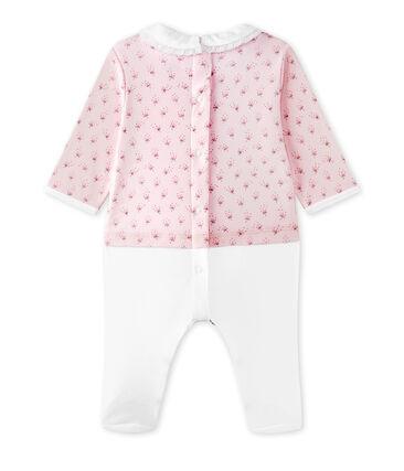 Combinaison guimpe bébé fille bi-matière rose Vienne / blanc Multico