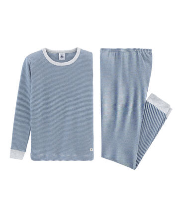 Pyjama petit garçon coupe très ajustée en côte bleu Major / blanc Marshmallow