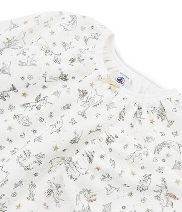 Pyjama petite fille en velours blanc Marshmallow / blanc Multico