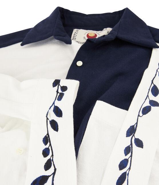 Robe chemise Femme Christoph Rumpf x Petit Bateau bleu Smoking / blanc Marshmallow