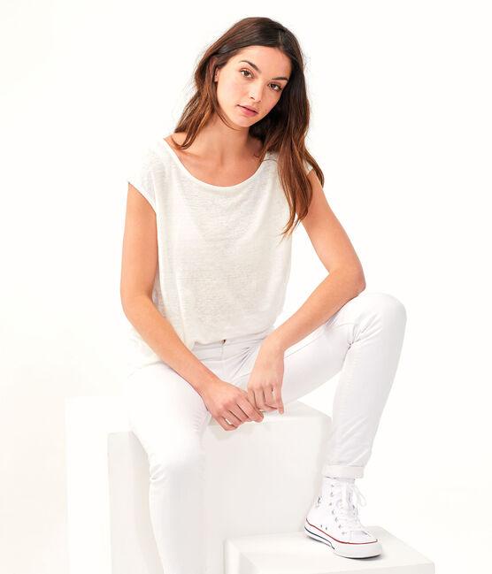 Tee shirt lin femme blanc Marshmallow