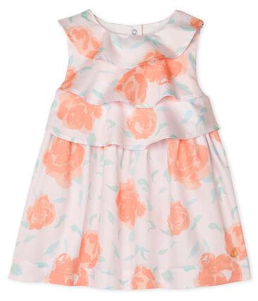 Robe bébé fille en satin imprimé rose Vienne / blanc Multico