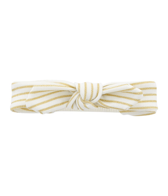 Bandeau enfant fille blanc Marshmallow / jaune Or