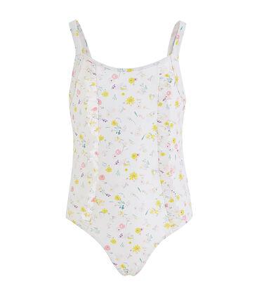 Maillot de bain UPF 50+ une pièce fille blanc Marshmallow / blanc Multico