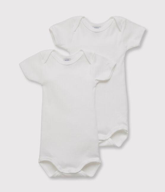 Lot de 2 bodies blancs manches courtes bébé lot .