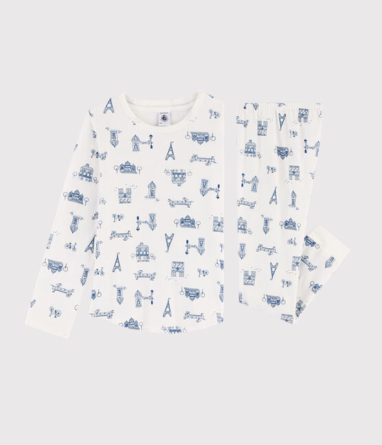 Pyjama enfant imprimé Paris en côte blanc Marshmallow / bleu Major