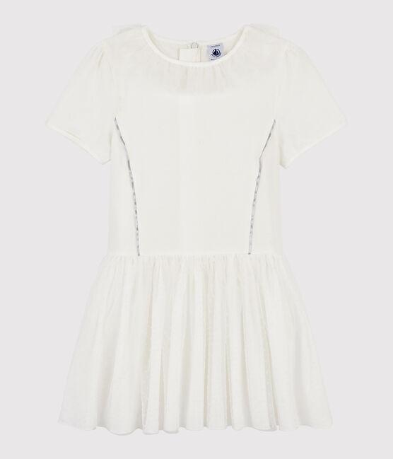 Robe manches courtes enfant fille blanc Marshmallow