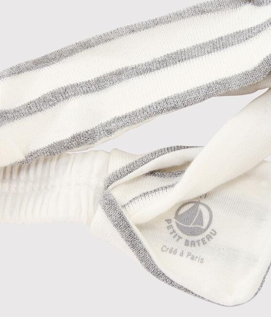 Bandeau à rayures bébé fille blanc Marshmallow / gris Argent