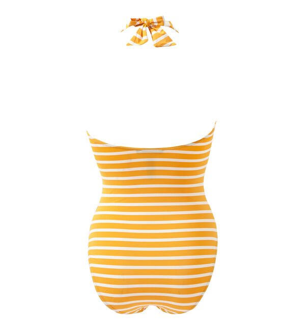 Maillot de bain1 pièce femme rayé orange Fusion / blanc Marshmallow
