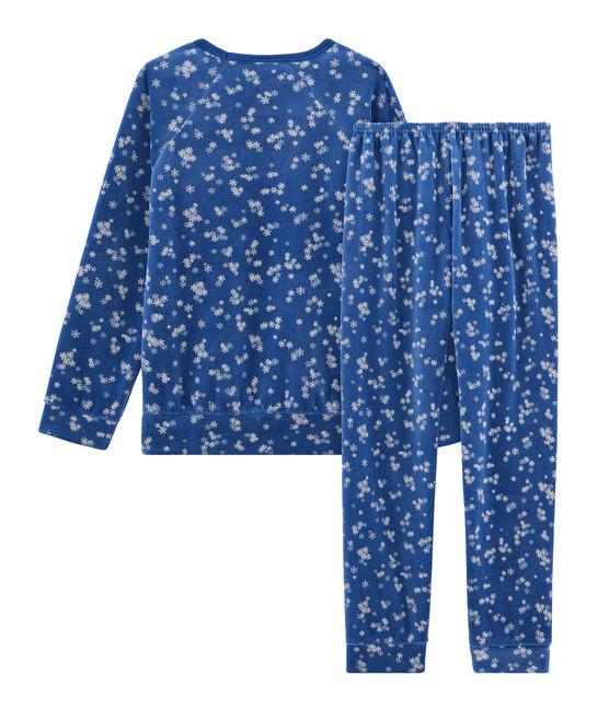Pyjama petite fille en velours bleu Major / blanc Multico
