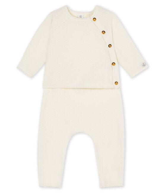 Ensemble deux pièces bébé en coton, laine mérinos et polyester blanc Marshmallow