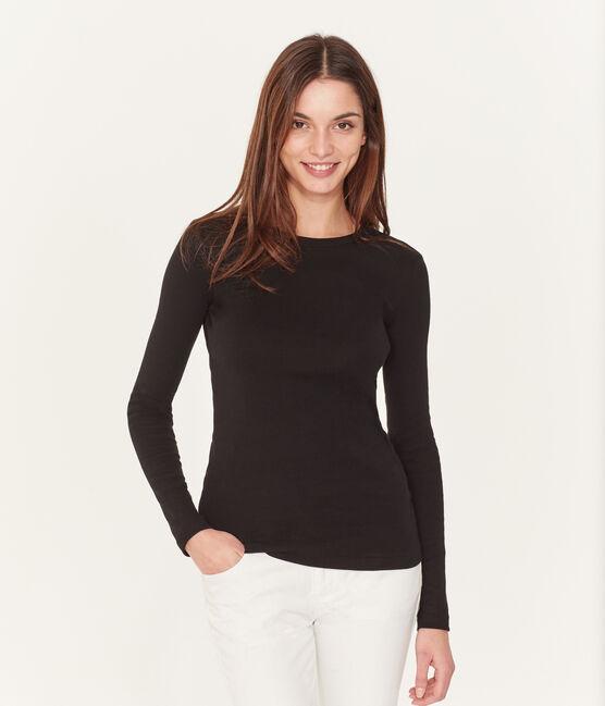 T-shirt col rond iconique en coton Femme noir Noir