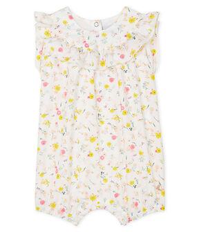 Combicourt imprimé bébé fille blanc Marshmallow / blanc Multico