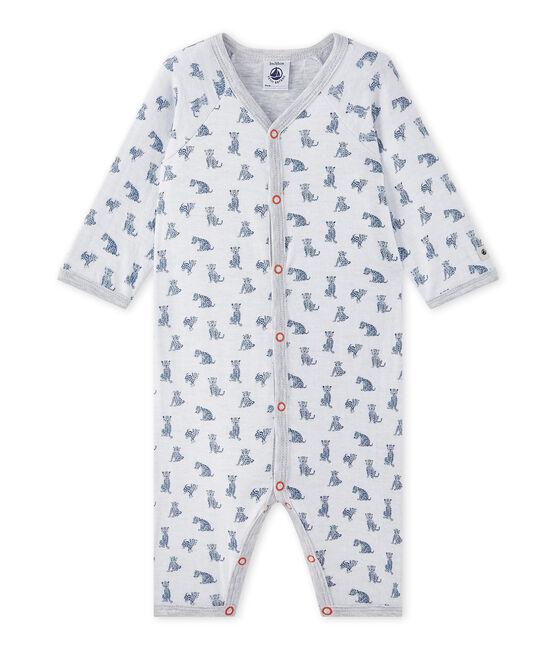 Dors bien sans pieds bébé garçon en tubique blanc Ecume / blanc Multico