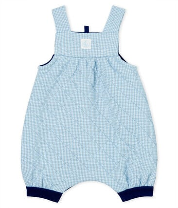Salopette courte bébé en tubique matelassé bleu Acier / blanc Marshmallow