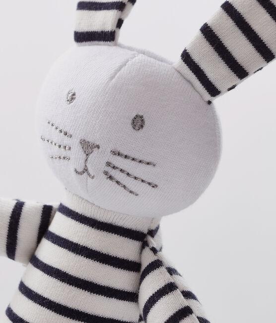 Doudou lapin à rayures bébé en jersey blanc Marshmallow / bleu Smoking