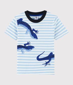 Tee-shirt manches courtes en jersey enfant garçon bleu Jasmin / blanc Marshmallow
