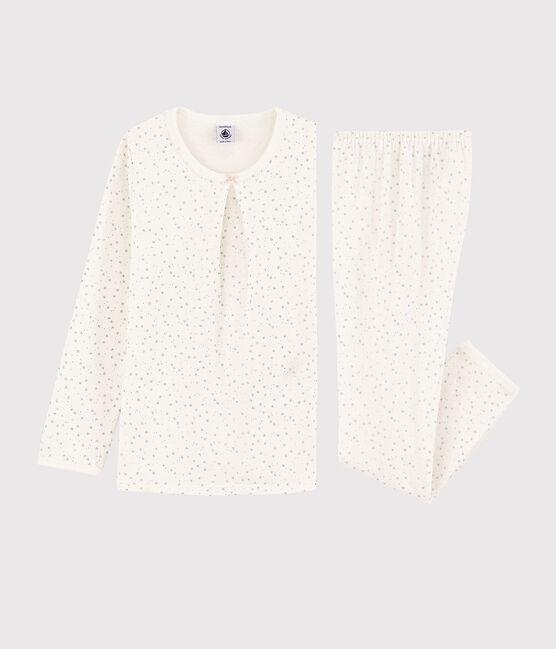 Pyjama étoilé petite fille en tubique blanc Marshmallow / gris Argent
