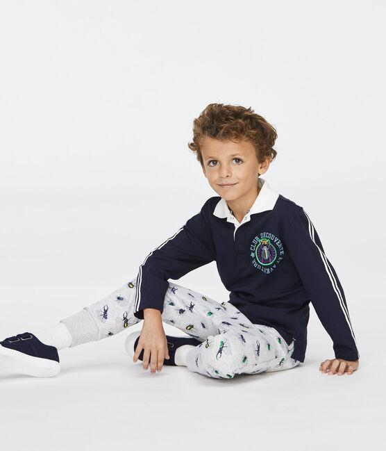 Pantalon enfant garçon gris Poussiere / blanc Multico