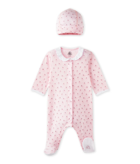 Dors-bien bébé fille et son bonnet de naissance rose Vienne / blanc Multico