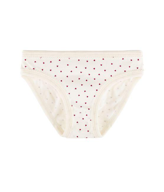 Culotte petite fille blanc Marshmallow / rouge Clafouti