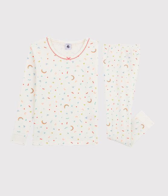 Pyjama snugfit imprimé confettis petite fille en côte blanc Marshmallow / blanc Multico