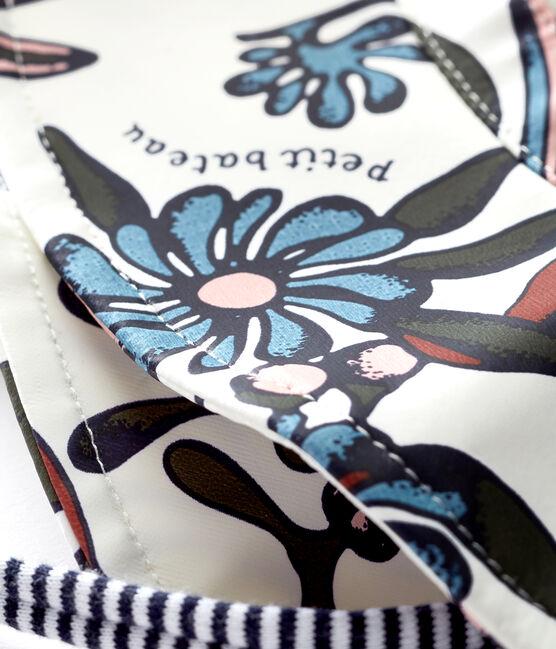 Capeline bébé fille en ciré imprimé blanc Marshmallow / blanc Multico