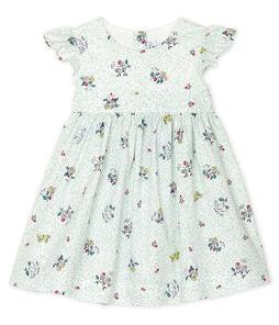 Robe manches courtes bébé fille imprimée blanc Marshmallow / blanc Multico