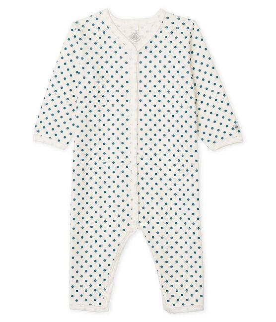 Dors bien sans pieds bébé fille en côte blanc Marshmallow / bleu Contes Cn