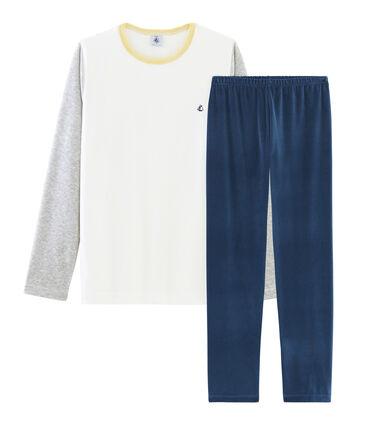 Pyjama garçon en velours bleu Medieval / gris Poussiere