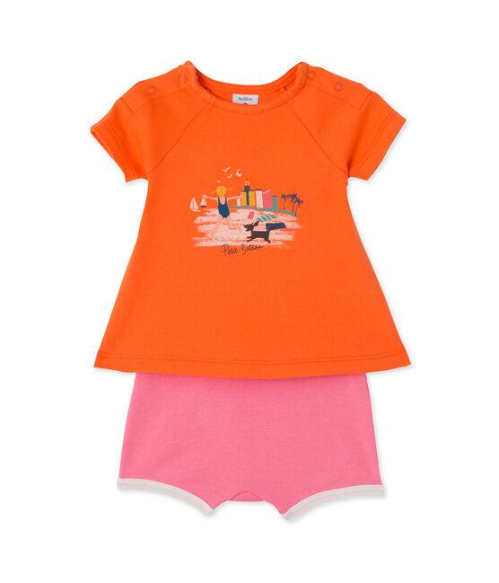 Ensemble bébé fille short et t-shirt orange Brazilian / rose Petal