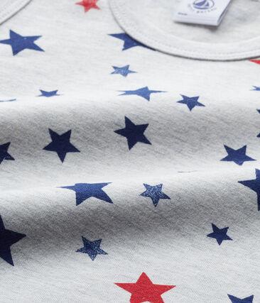 Débardeur garçon imprimé en jersey stretch gris Beluga / blanc Multico