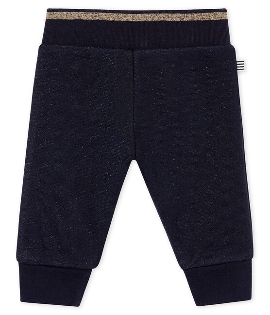 Pantalon molleton brillant bébé fille bleu Smoking / jaune Dore