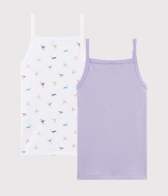 Lot de 2 chemises à bretelles imprimé oiseau petite fille lot .