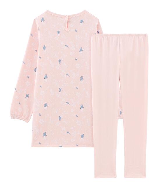 Chemise de nuit manches longues imprimée pingouin petite fille en jersey double face rose Minois / blanc Multico