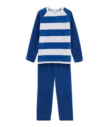 Pyjama petit garçon bleu Limoges / gris Poussiere