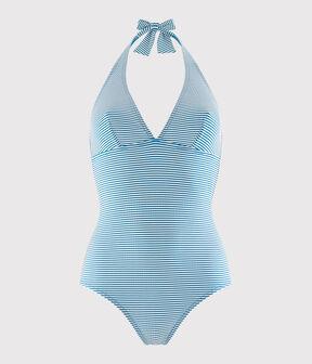 Maillot de bain 1 pièce recyclé Femme bleu Mykonos / blanc Marshmallow